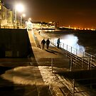 Waves, Wind and the Promenade at Night by Pippa Carvell