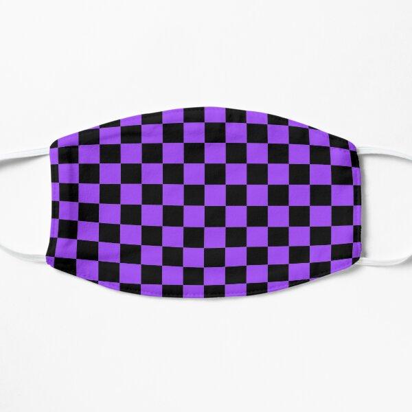 Purple and Black Check Flat Mask