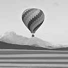 Hot Air Balloon and Longs Peak in Black and White by Bo Insogna