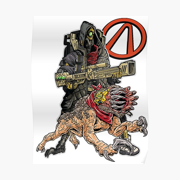 FL4K The Beastmaster With Guard Skag Vault Symbol Borderlands 3 Rakk Attack! Poster