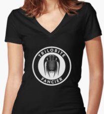 Trilobite Fancier (white on dark) Women's Fitted V-Neck T-Shirt