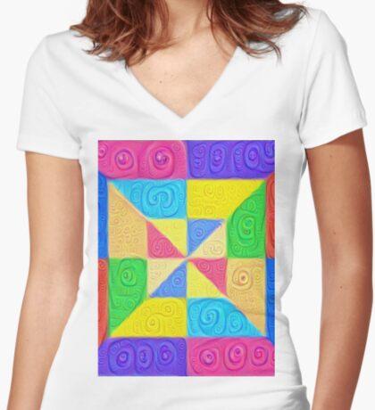 DeepDream Color Squares Visual Areas 5x5K v1448115896 Fitted V-Neck T-Shirt