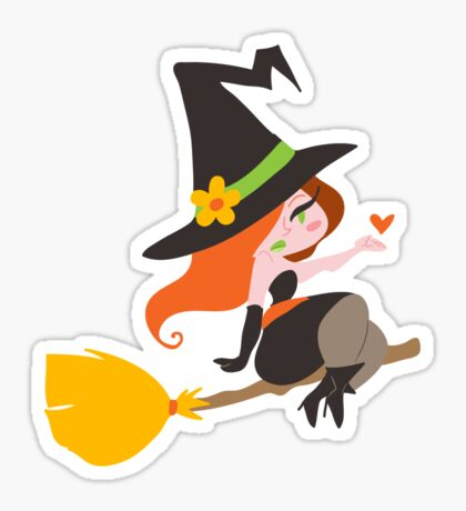 Cute Redhaired Witch Sticker