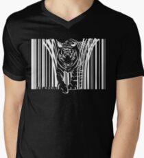 WHITE TIGER BARCODE  Men's V-Neck T-Shirt