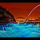 Newcastle quayside nightlight - making waves by Sheerlight