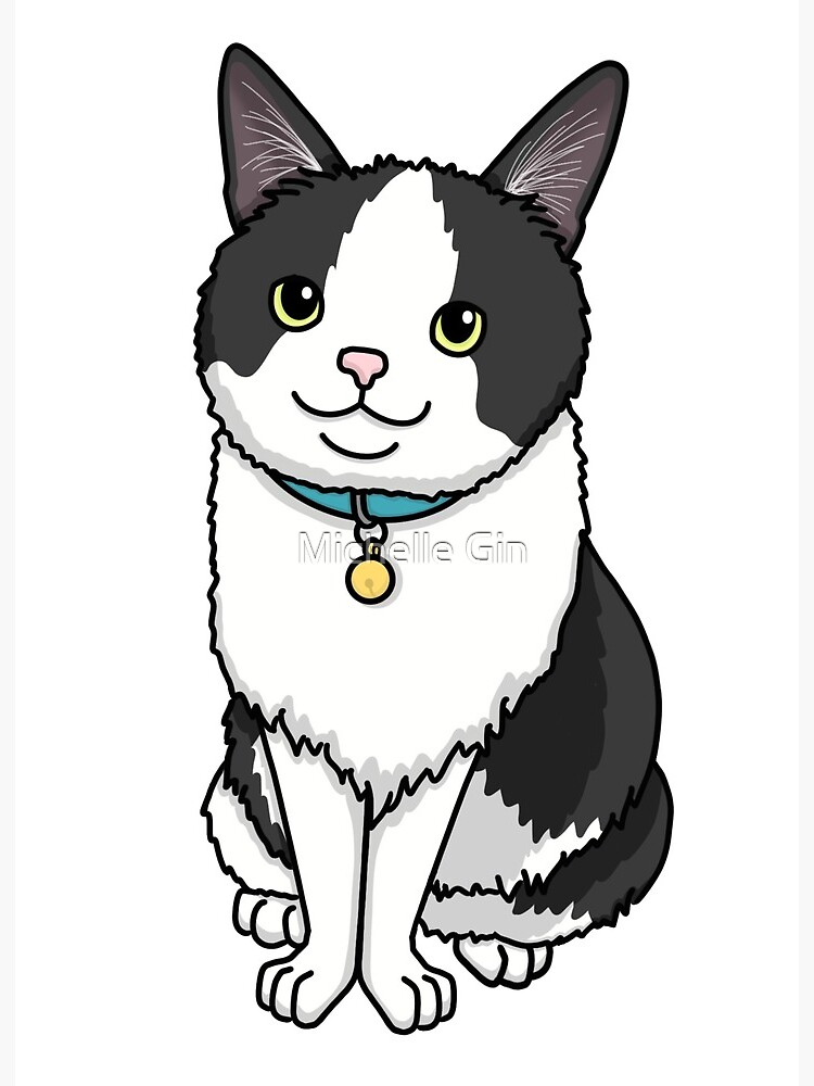 Squirt The Black And Gray Cat Sitting Cartoon Cute Art Board Print By Meshellg12 Redbubble