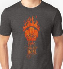 Ride like Hell Calligraphic cycling poster T-Shirt