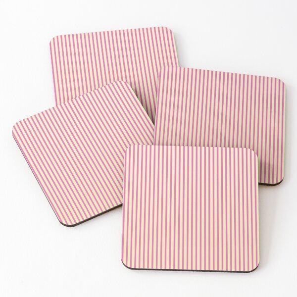 Raspberry Stripes Coasters (Set of 4)