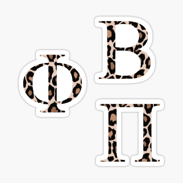 Phi, Beta, Pi Cheetah Print letters greek pack Sticker