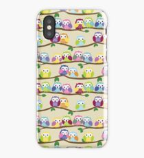 Cute Colorful Owls on Branches iPhone Case