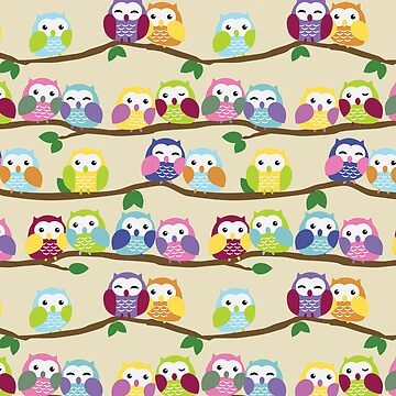 Cute Colorful Owls on Branches by blackunicorn