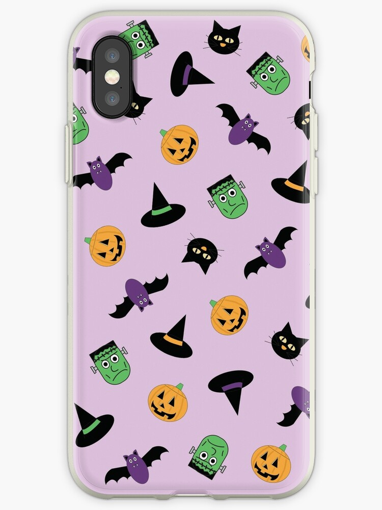 Purple Halloween Pattern with Pumpkin Frankenstein Cat Witch by Valeria  Leone