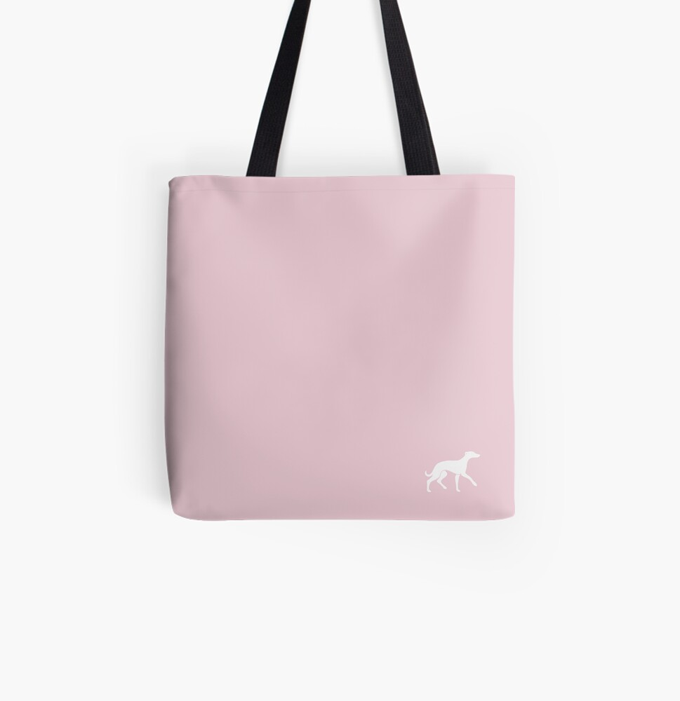 White Whippet On Pink Design All Over Print Tote Bag