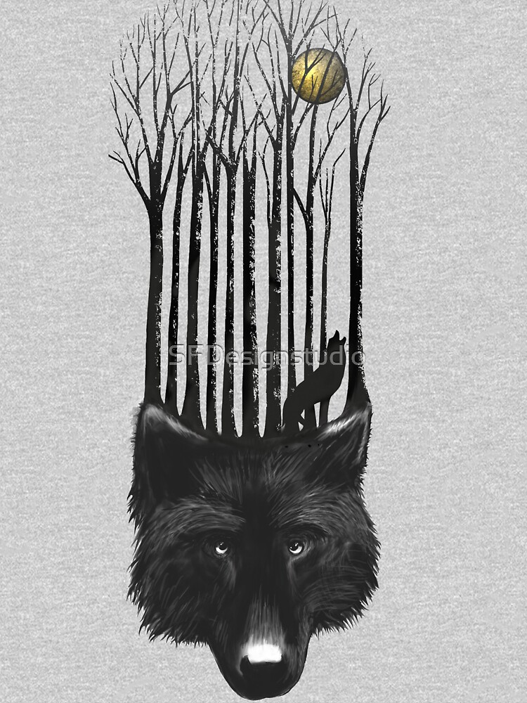BLACK WOLF BARCODE in the woods illustration | Unisex T-Shirt