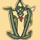 Celtic Oscar letter V (New Manuscript version) by Donna Huntriss