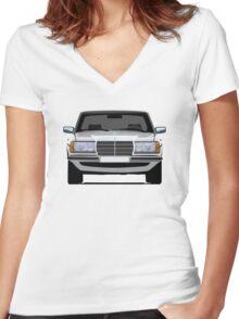 Mercedes-Benz W123 white illustration Women's Fitted V-Neck T-Shirt