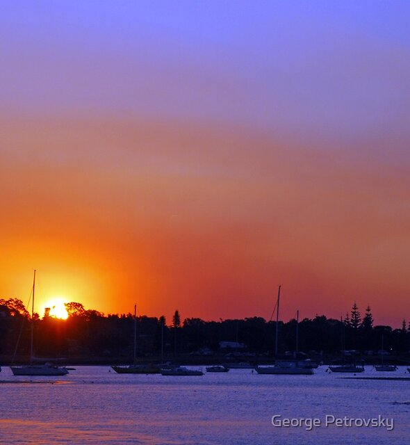 Smoky Port Sunset # 2 by George Petrovsky
