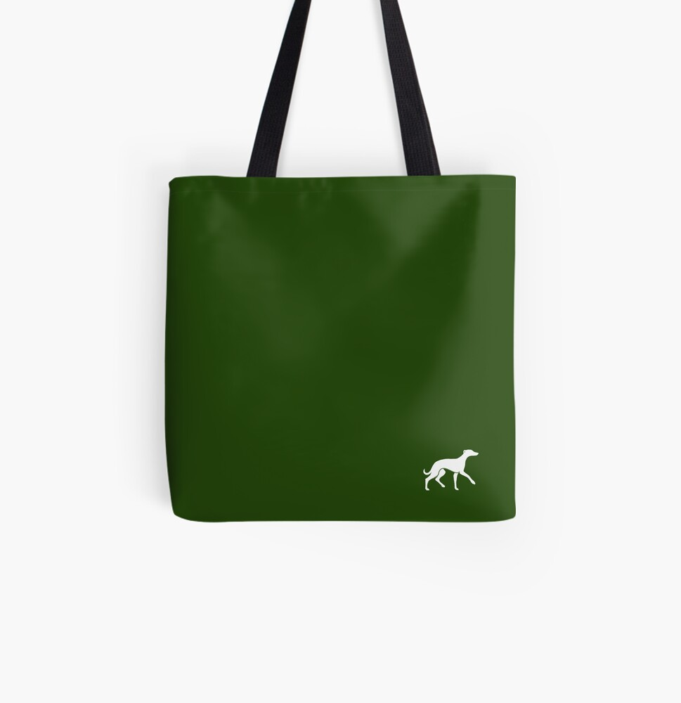 White Whippet On Green Design All Over Print Tote Bag