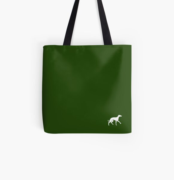 White Whippet On Green Design All Over Print Tote Bag