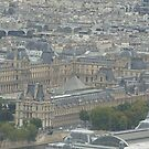 The Louvre from the top of the Eiffel tower-Paris France by DES PALMER