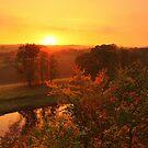 Golden Autumn Twilight Across the River Tees by Ian Alex Blease