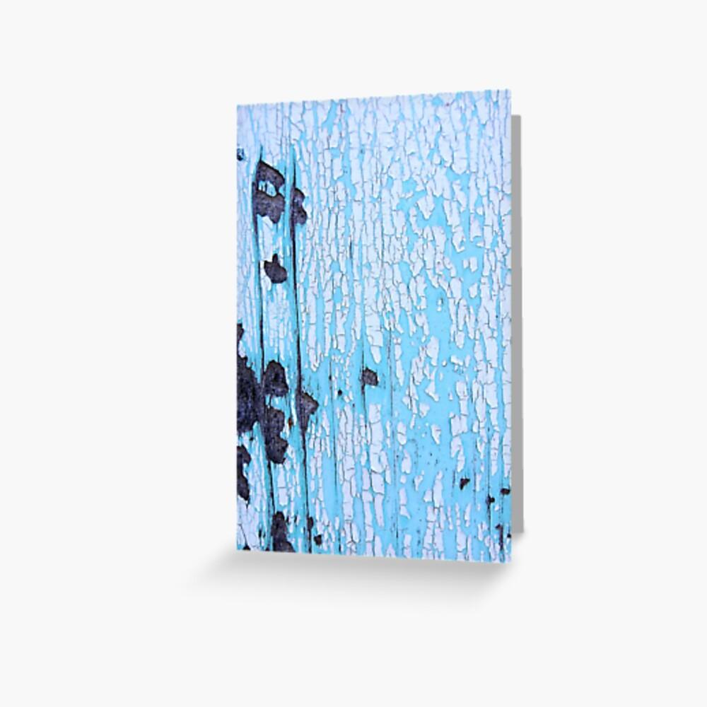 Blue Painted Wood Grußkarte