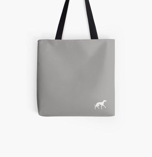 White Whippet On Grey Design All Over Print Tote Bag