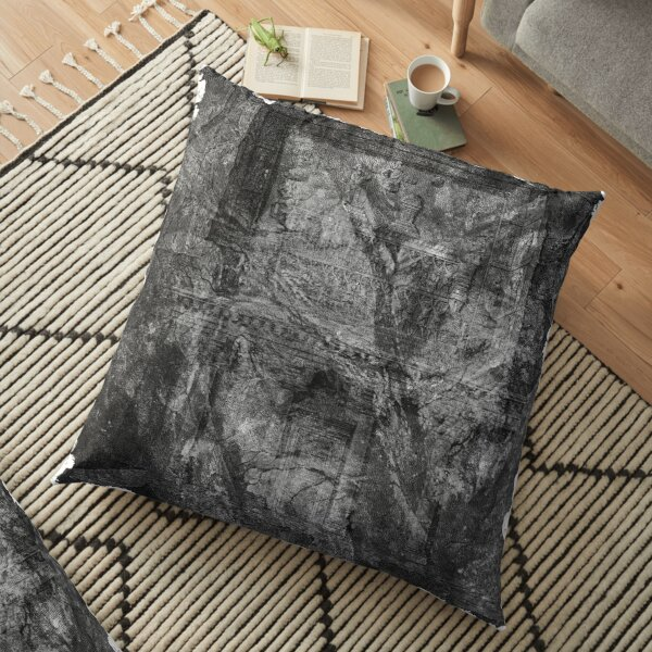 The Atlas of Dreams - Plate 32 (b&w) Floor Pillow