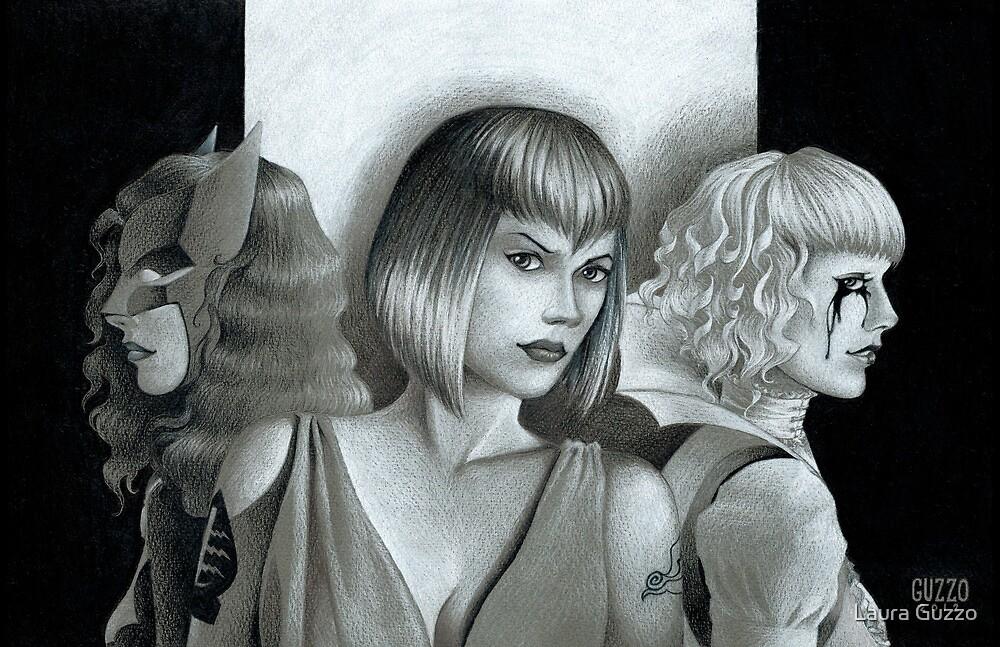 Batwoman Triple Portrait by Laura Guzzo