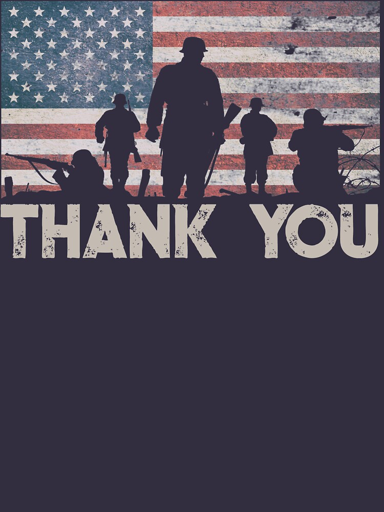 American Flag Thank You Military Veteran's Day Shirt Gear by DynamicDesign