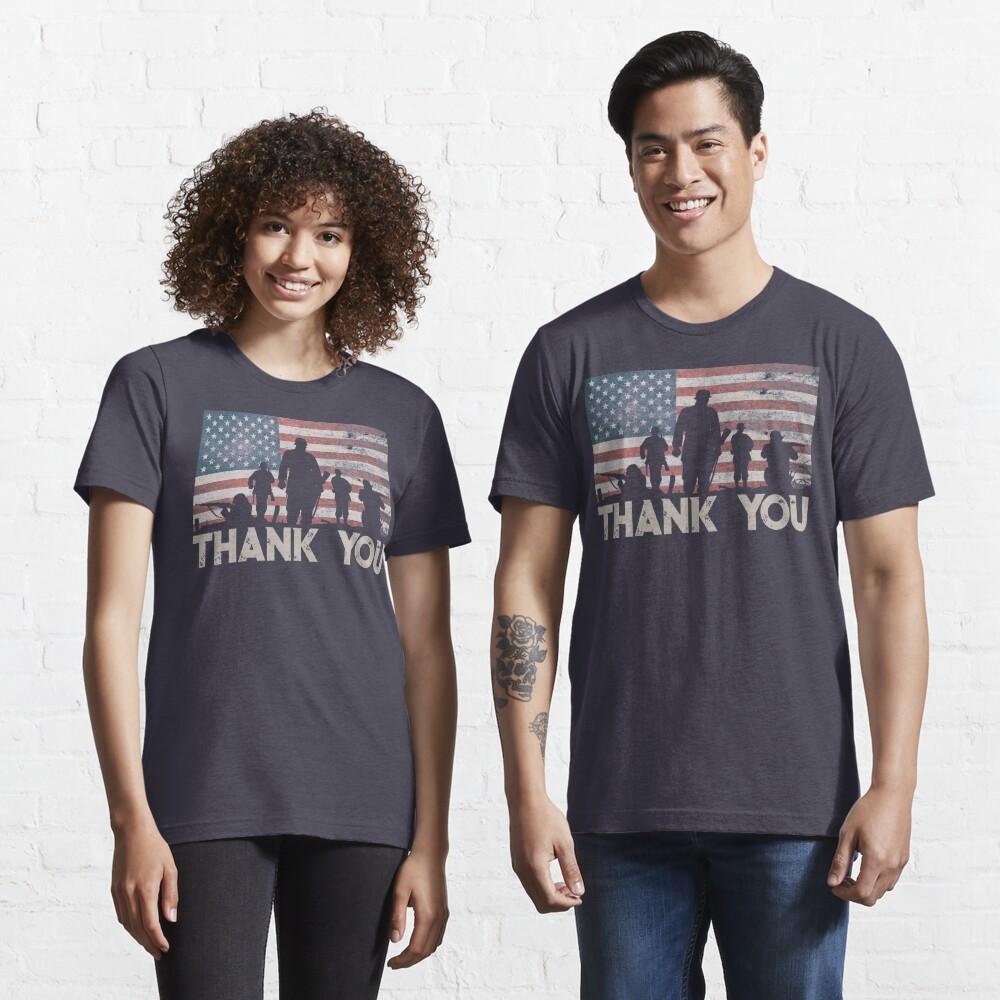 American Flag Thank You Military Veteran's Day Shirt Gear Essential T-Shirt