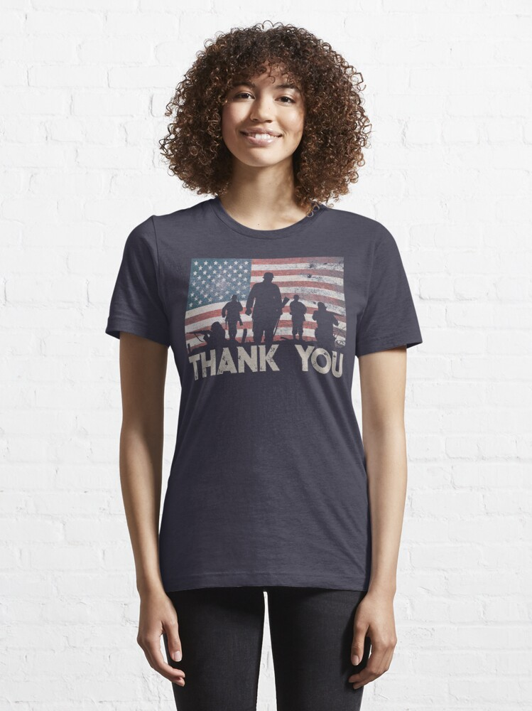 Alternate view of American Flag Thank You Military Veteran's Day Shirt Gear Essential T-Shirt