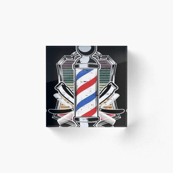 Love Barbershop Hairdresser Gift Retro design  graphic Acrylic Block