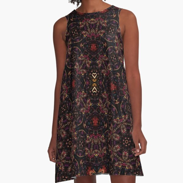 Bismuth with a geometric kaleidoscopic design A-Line Dress