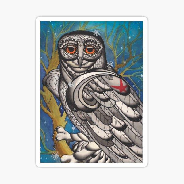 snowy owl with red star Sticker