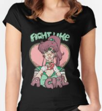 Sailor Moon- Fight Like a Girl (Sailor Jupiter) Women's Fitted Scoop T-Shirt
