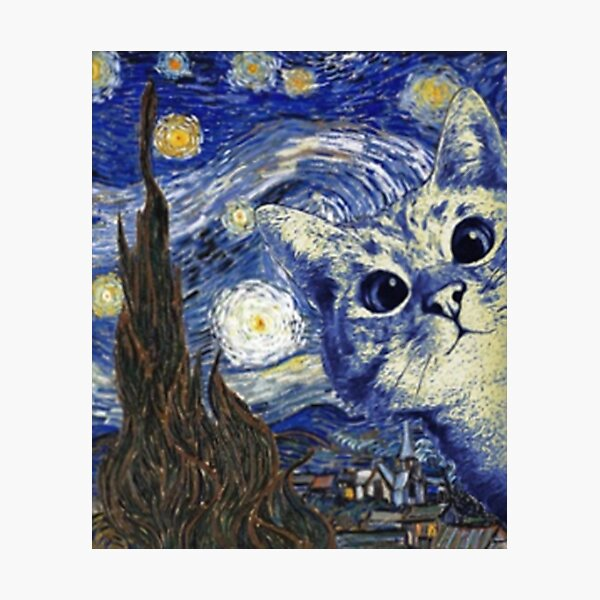 Van Gogh cat funny gifts  Photographic Print