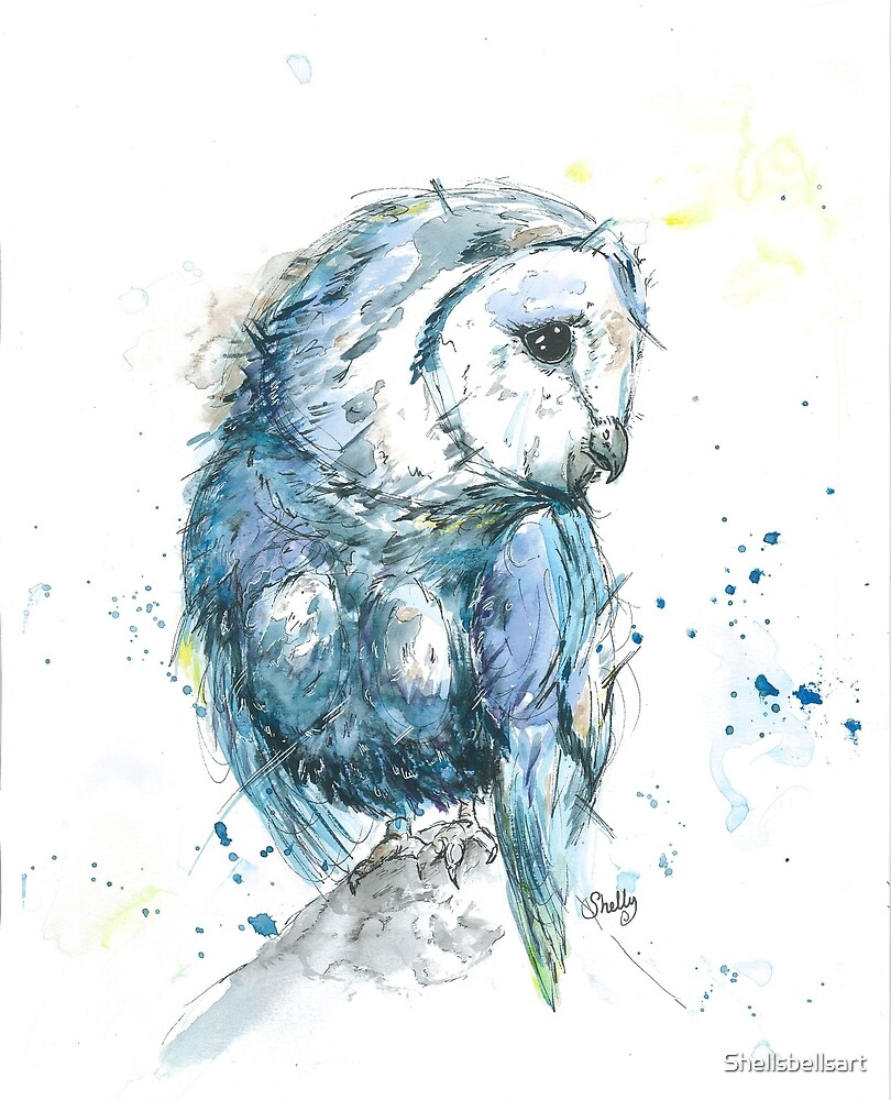 Beautiful Owl In Watercolour And Ink Illustration Design