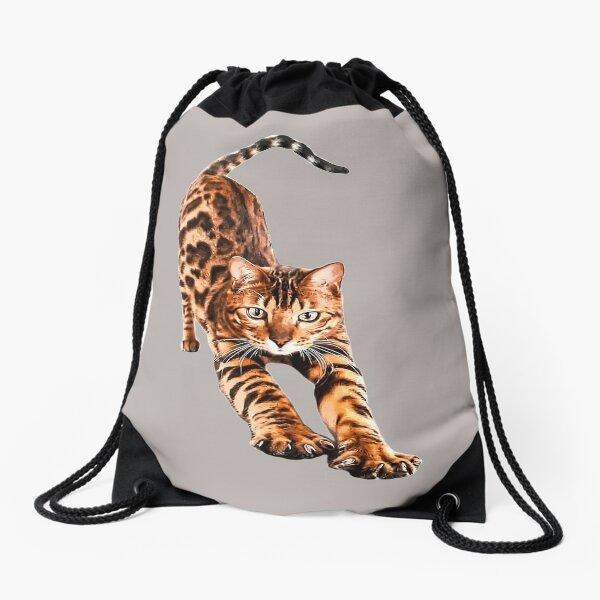Bengal Cat Stretching  Drawstring Bag
