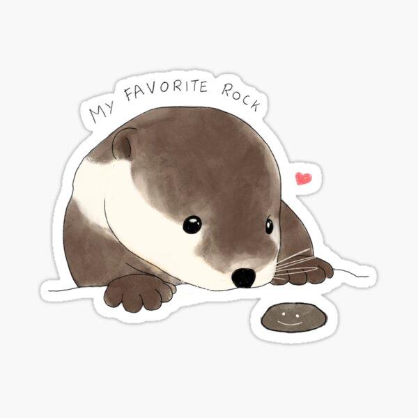 Otter's Favorite Rock Sticker