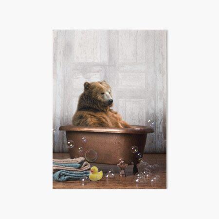 Bear in Bathtub Art Board Print