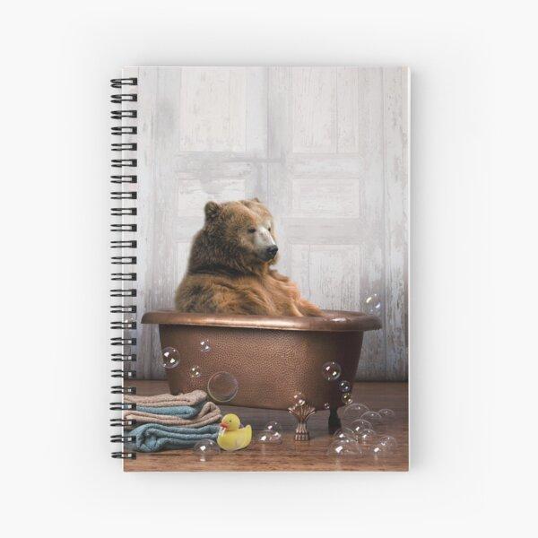 Bear in Bathtub Spiral Notebook