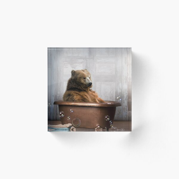 Bear in Bathtub Acrylic Block
