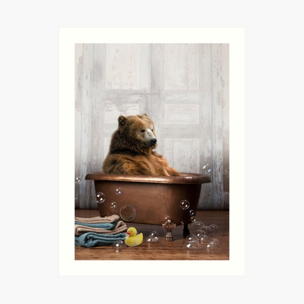 Bear in Bathtub Art Print