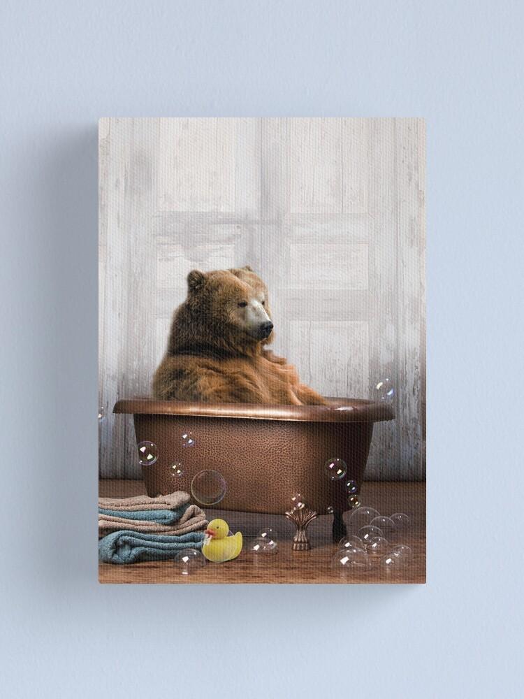 Alternate view of Bear in Bathtub Canvas Print