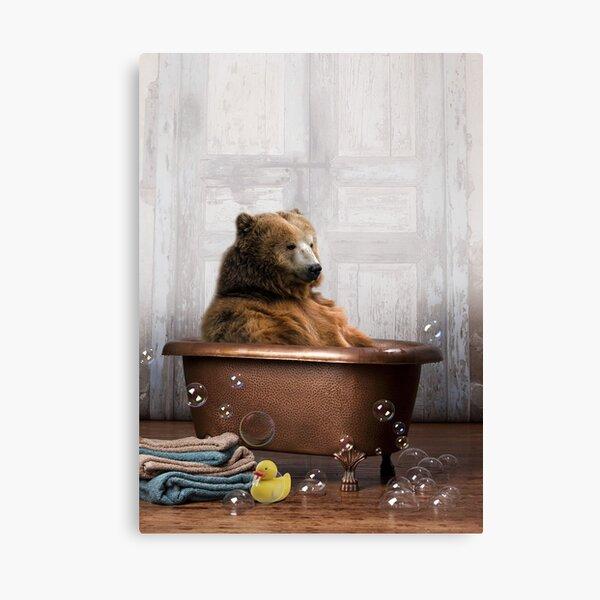 Bear in Bathtub Canvas Print