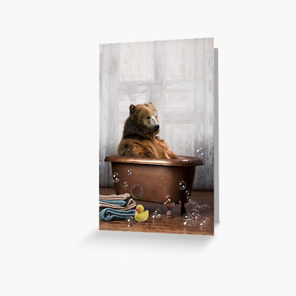 Bear in Bathtub Greeting Card