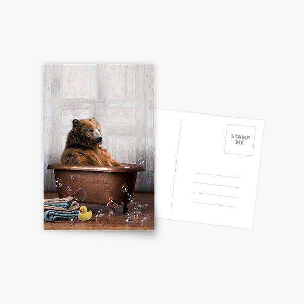 Bear in Bathtub Postcard