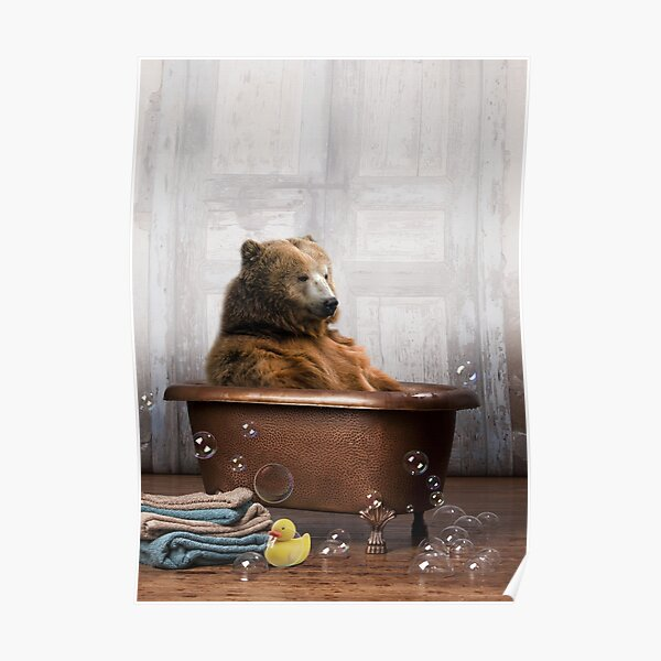 Bear in Bathtub Poster