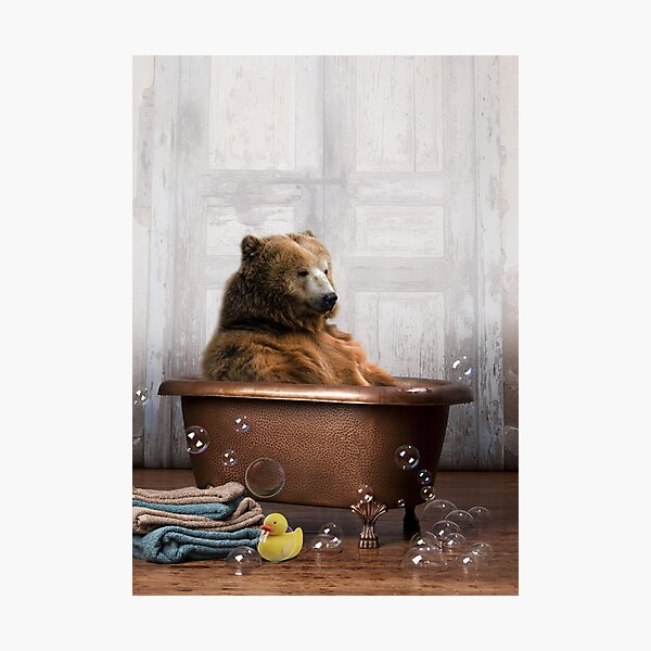 Bear in Bathtub Photographic Print